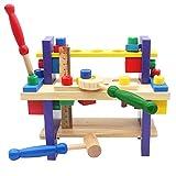 Nuheby Holz Spielzeug Werkbank Werkzeug Kinder Holzspielzeug Pädagogisches Spielzeug Geschenk 3 4 5 6 Jahre Jungen Mädchen(42 Stück)