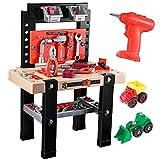 iBaseToy Werkbank Spielzeug, Kunststoff Werkbank für Kinder, 91 Stück Spielzeug Werkzeugbank Set mit Elektrische Bohrmaschine, Pädagogisch und Rollenspiel Werkbank für Kleinkinder