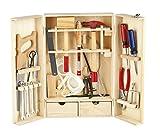 LEOMARK Deluxe Holz Werkzeugkoffer Werkzeugkasten Schraubendreher Enthält Mehr Holz Werkyeugkasten Kompakter Werkzeugkoffer Holzschrank Werkzeug Heimwerker Laubsägeschrank 30 Teilen Für Kind