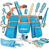 Hi-Spec 16-teiliges Kinder-Werkzeug-Kit mit Werkzeuggürtel in Kindergröße, Arbeitshandschuhen aus echtem Leder, Schutzbrille, Holzlineal Alles ECHTE Werkzeug