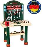 Theo Klein 8461 8461-Bosch Workshop mit extragroßer Arbeitsplatte Holzimitatation und viel Werkzeug, Spielzeug, Grün, Holzfarb